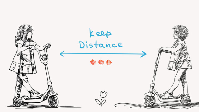 Keep social distance Covid-19 banner for children, Stop spread coronavirus. Two little girls on kick scooter, Hand drawn vector illustration