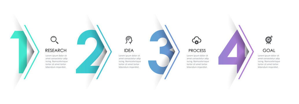 Vector Infographic arrow design with 4 options or steps. Infographics for business concept. Can be used for presentations banner, workflow layout, process diagram, flow chart, info graph