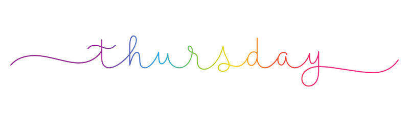THURSDAY rainbow gradient vector monoline calligraphy banner with swashes
