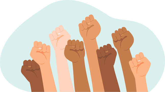 Protesters hands.Multiracial fists hands up vector illustration. Concept of unity, revolution, fight, cooperation.
