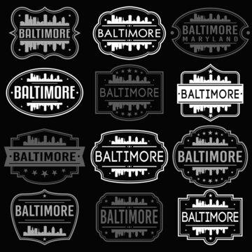 Baltimore Maryland Skyline. Premium Quality Stamp Frames. Grunge Design. Icon Art Vector. Old Style Frames.
