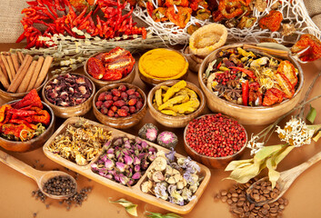 Various dried medicinal herbs. Natural Herbal Medicine Selection.