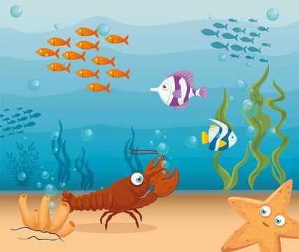 lobster with fishes and wild marine animals in ocean, seaworld dwellers, cute underwater creatures,habitat marine concept vector illustration design