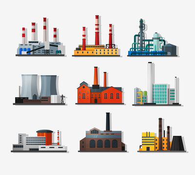 Power plant icons in flat style and shadow. Nuclear power plant and chemical plant, old factory and modern plant. Detailed flat style.