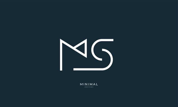 Alphabet letter icon logo MS