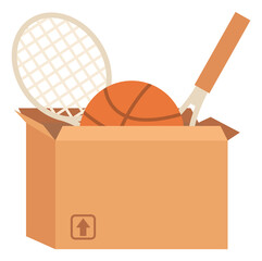 Sport equipment in box, garage sale or declutter vector. Tennis or badminton rackets and basketball, sporting items selling, second hand goods, trade