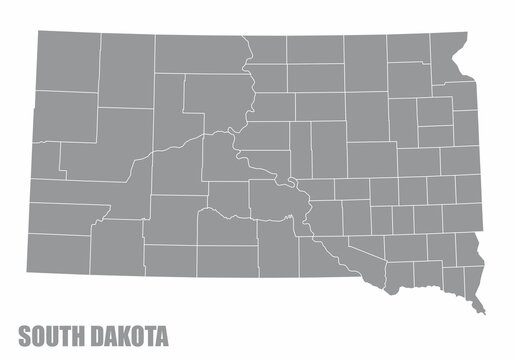 The South Dakota State County Map isolated on white background