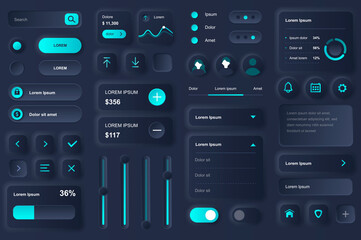 User interface elements for banking mobile app. Financial analytics of bank account, deposit and credit balance gui templates. Unique neumorphic ui ux design kit. Manage and navigation components.