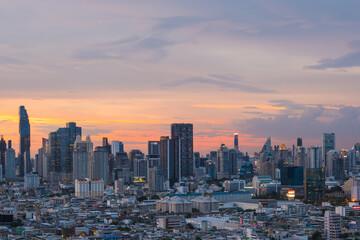 Fotobehang Amerikaanse Plekken Aerial view of Bangkok city skyline at sunset