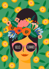 Hello summer. Vector illustration of cute lady in glasses with wreath.