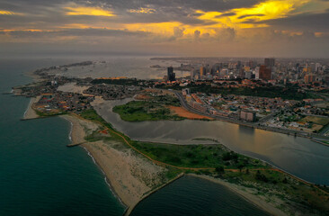 Canvas Prints Cappuccino Luanda from a above, slums and dramatic landscape from a aerial perceptive