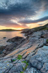 Wall Mural - Sunset over the cliffs at Hushinish