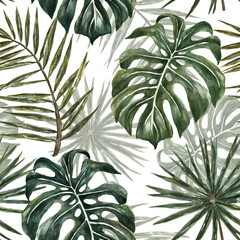 Watercolor tropical monstera and palm leaf seamless pattern. Exotic green plants and leaves repeat print on white background. Jungle forest hand drawn illustration. Summer botanical wallpaper.