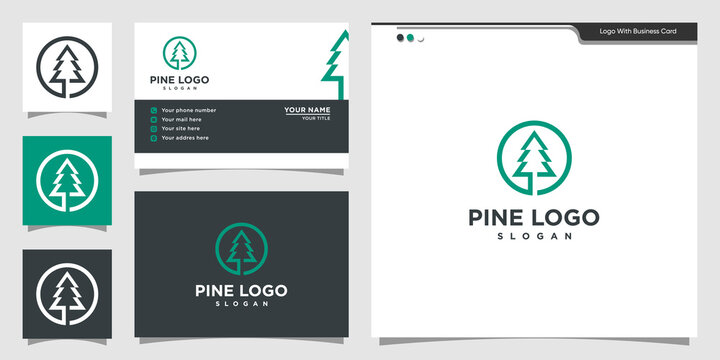 Modern pine logo illustration. natural, nature, health, outdoor, Premium Vector