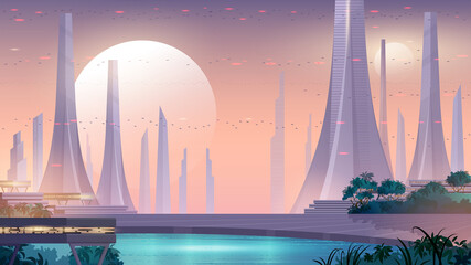 Canvas Prints Lavender City of the future. Alien city landscape with beautiful public park, lake and flying cars in the sky. Space background.