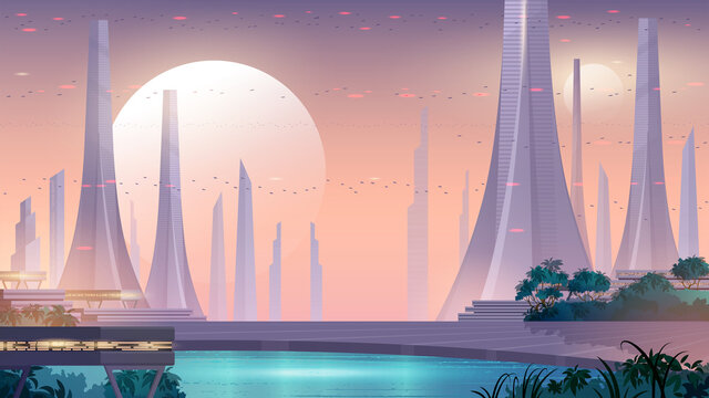 City of the future. Alien city landscape with beautiful public park, lake and flying cars in the sky. Space background.