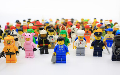 HONG KONG,MARCH 1: lego mini characters  which are isolated on white in hong kong on 1 March 2015. Lego minifigure are the successful line in Lego products