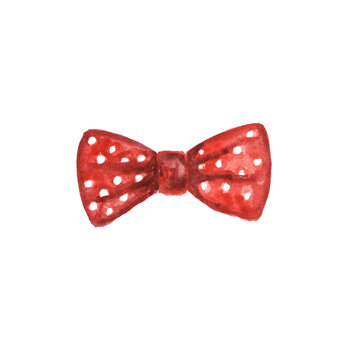 Watercolor illustration of a red bow on a white background