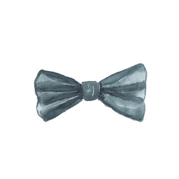Watercolor illustration of a bow tie on a white background