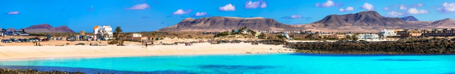 Wonderful beaches with turquoise sea of Fuerteventura island El Cotillo in northern part. Canary islands of Spain