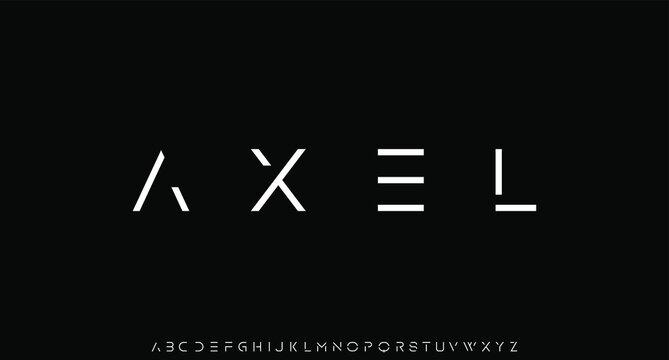 AXEL, futuristic modern geometric font
