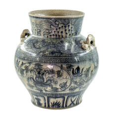 a traditional chinese porcelain vase with in Dark blue and white color and have a handles in the form of reptiles
