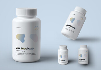 4 Mockups of Plastic Jars for Pills