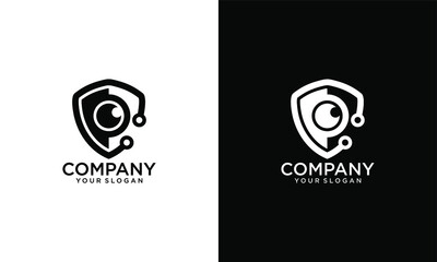 Logo shield with a lens in a flat minimalism modern icon monochrome