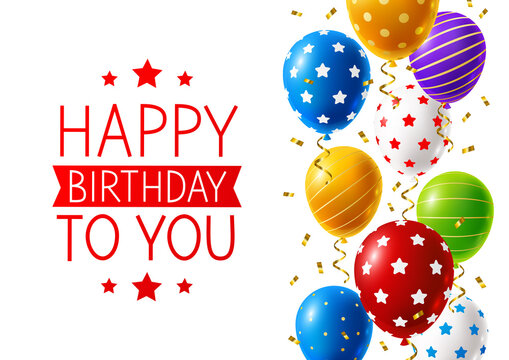 Bright color balloons with ornate and confetti on white background - birthday greeting card design