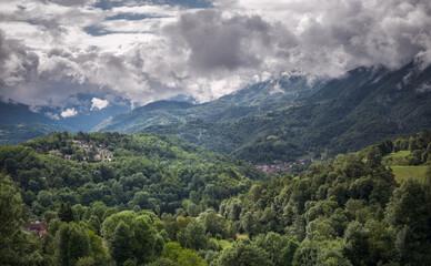 Foto auf AluDibond Khaki Pyrenees mountain landscape with clouds / Ariège department in southwestern France