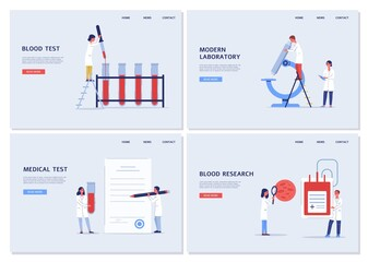 Medical blood test in modern laboratory - website banner template set