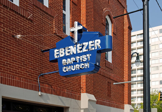 Atlanta GA, USA - July 3, 2010: The Ebenezer Baptist Church in downtown Atlanta, Georgia. The Ebenezer Baptist Church was the pastoral home of Dr. Martin Luther King, Jr.