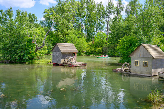 Korzo Zalesie - area for leisure activities by Little Danube river in village of Zalesie (SLOVAKIA)