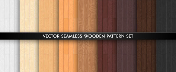 Türaufkleber Künstlich Wood textured seamless pattern set. Light and dark brown natural colors wooden boards repeat texture collection. Vector illustration for design, flat interiours, print, paper, decor, photo background