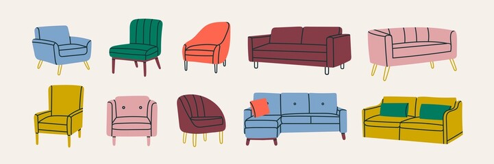 Set of Various modern colorful comfortable Armchairs and Couches. Soft furniture for rest and relaxation. Room decoration, interior design. Hand drawn Vector illustrations. All elements are isolated