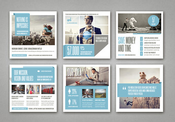 Social Media Post Layouts with Blue and Gray Elements