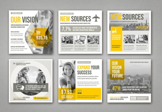 Social Media Post Layouts with Yellow and Gray Elements