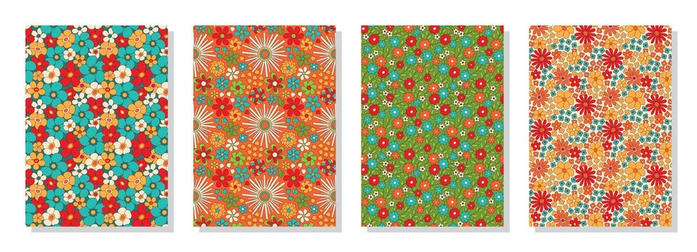 Vintage floral patterns set. Psychedelic or hippie style backgrounds. Abstract flowers and groovy colors
