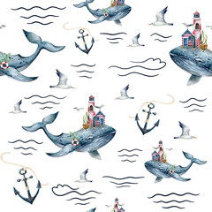 watercolor seamless pattern with whale, anchors, waves
