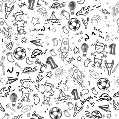 Seamless pattern. Vector illustration on a white background. Pictures of a boy, rockets, stars, a kite, a balloon, a paper airplane, a ship. Doodle style.
