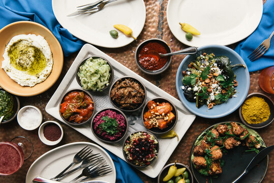 Grand buffet of traditional Israeli foods at fine dining restaurant