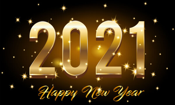 Golden Happy New Year 2021 With Burst Glitter on Black Colour Background Illustration - Golden New Year 2021 With Burst Glitter on Black Color Background Vector