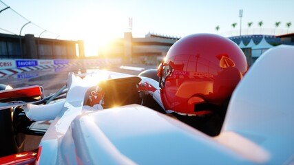 Foto op Aluminium F1 Racer of formula 1 in a racing car. Race and motivation concept. Wonderfull sunset. 3d rendering.