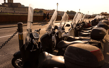 Italian motorcycles at the afternoon sun light