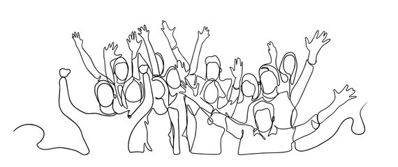 Continuous line drawing of happy cheerful crowd of people. Cheerful crowd cheering illustration. Hands up. Group of applause people continuous one line vector drawing. Audience silhouette hand drawn.