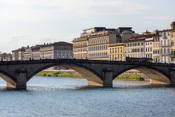Panoramic view of the Florence city and Arno river in Italy.