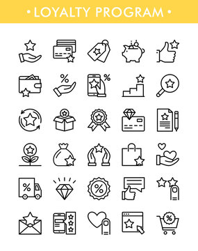 Loyalty program. Vector set of loyalty program line icons for website, web, app, graphic design. Marketing concept. Bonus and exchanging card for customers, lottery prizes. Shopping bonus system
