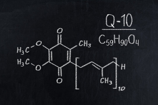 Black chalkboard with the chemical formula of coenzyme q10