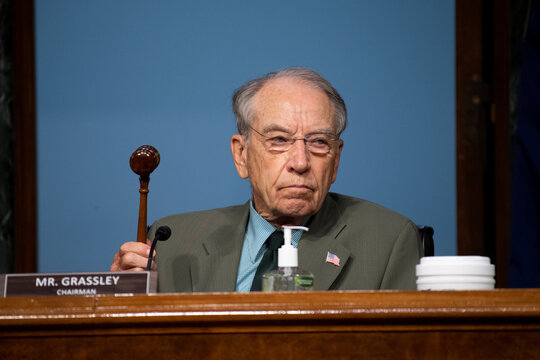 "Chairman Chuck Grassley, (R-IA), holds up a gavel during a Senate Finance Committee hearing on ""COVID-19/Unemployment Insurance"", in Washington"