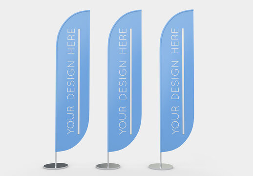 3 Advertising Flags Mockup with Editable Background